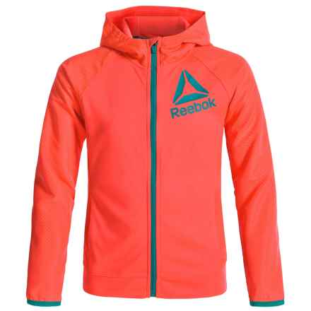 Reebok Zip Front Hoodie (For Little Girls) in Coral - Closeouts