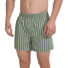 Reed Edward Cotton Boxers (For Men) in Green/Blue Stripe - Closeouts