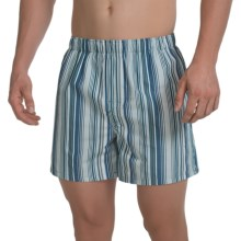 Reed Edward Cotton Boxers (For Men) in White/Blue/Sage Stripe - Closeouts