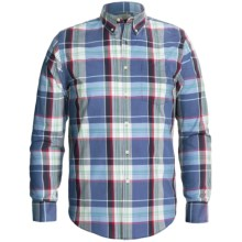Reed Edward Cotton Button-Front Shirt - Long Sleeve (For Men) in Blue/Navy/Burgandy Plaid - Closeouts