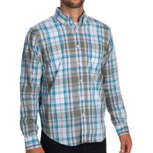 Reed Edward Plaid Shirt - Button-Down Collar, Long Sleeve (For Men) in Tan/Bright Blue - Closeouts