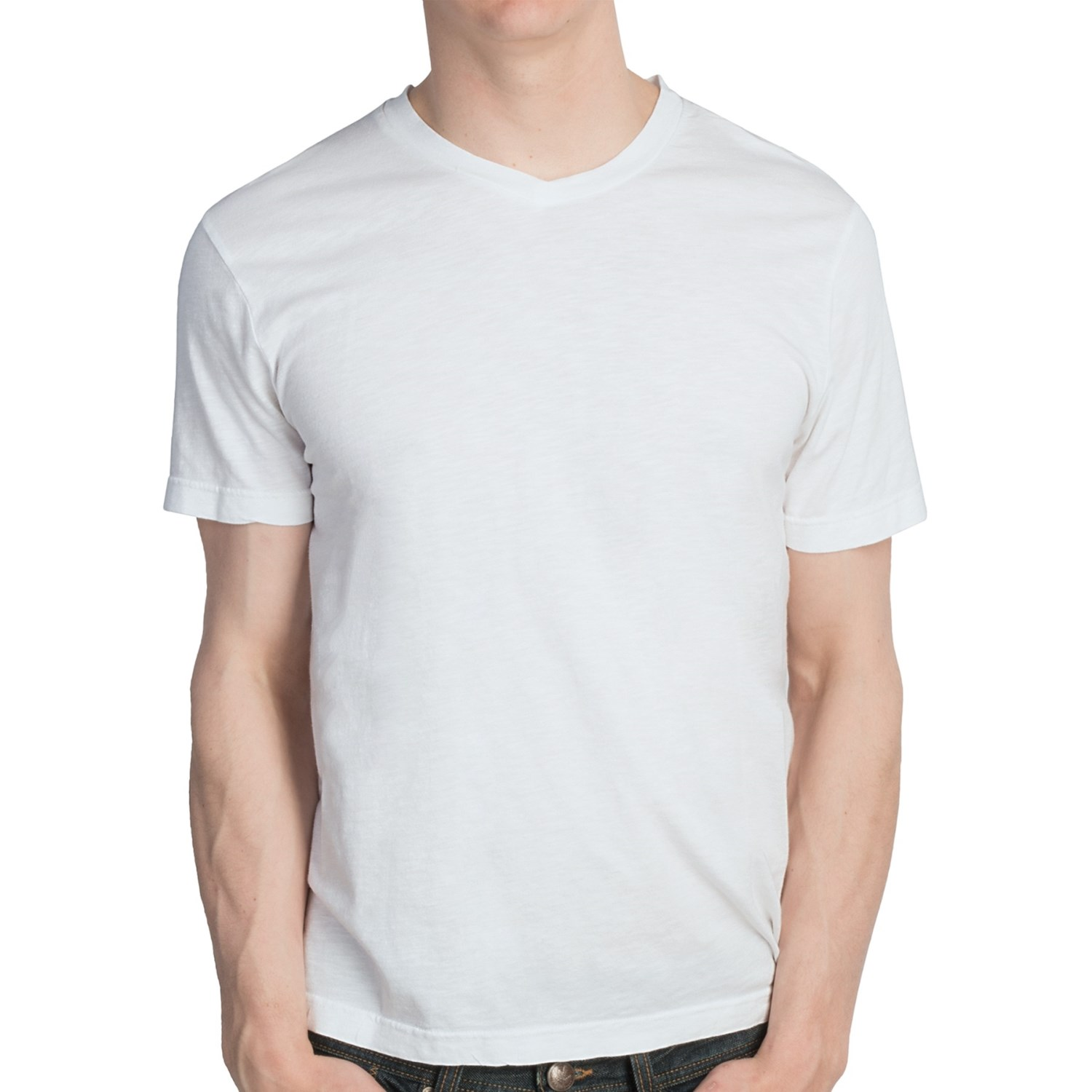 Reed edward slubbed v neck t shirt cotton modal short for Modal t shirts mens