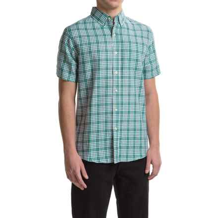 Reed Edward Woven Button-Down Shirt - Short Sleeve (For Men) in Teal Plaid - Closeouts