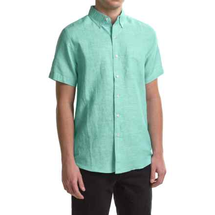 Reed Edward Woven Button-Down Shirt - Short Sleeve (For Men) in Turquoise Heather - Closeouts