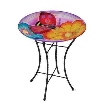 """Regal Art & Gift Ladybug Glow Birdbath - 18"""" in Multi - Closeouts"""