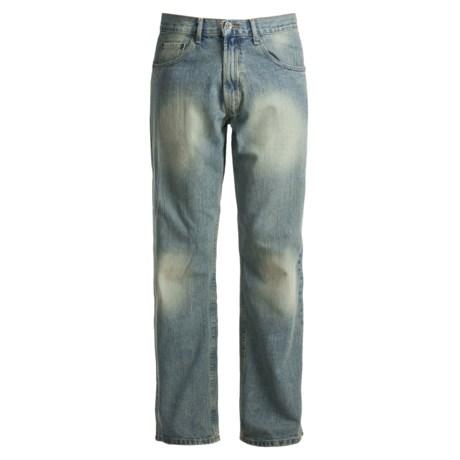 Regular Fit Denim Jeans - 5-Pocket (For Men) in Dirty Demin
