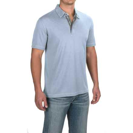 Relaxed Fit Knit Polo Shirt - Short Sleeve (For Men) in Pale Blue - 2nds