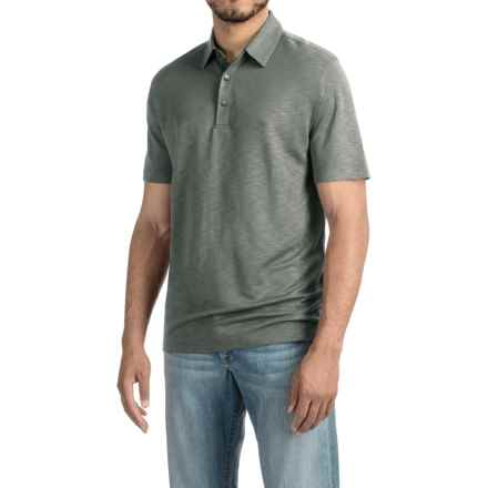 Relaxed Fit Knit Polo Shirt - Short Sleeve (For Men) in Wet Concrete - 2nds
