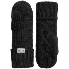 Rella Betto Hand-Knit Mittens - Merino Wool, Fleece Lined (For Women) in Black - Overstock