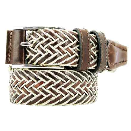 Remo Tulliani Braided Belt - Leather-Cotton (For Men) in Tan/Cream - Closeouts