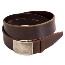 Remo Tulliani Distressed Leather Belt - Antique Nickel Plaque Buckle (For Men) in Brown - Closeouts