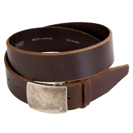 Remo Tulliani Distressed Leather Belt - Antique Nickel Plaque Buckle (For Men) in Brown