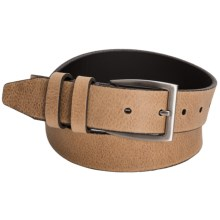 Remo Tulliani Italian Calfskin Leather Belt - Brushed Nickle Buckle (For Men) in Saddle Tan - Closeouts