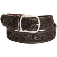 Remo Tulliani Laser-Engraved Leather Belt (For Men) in Brown - Closeouts