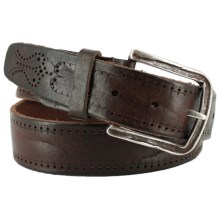 Remo Tulliani Perforated Leather Belt (For Men) in Tan - Closeouts