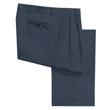 Rendezvous by Ballin Microfiber Gabardine Pants - Pleated Front (For Men) in Navy