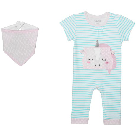 Rene Rofe Baby Bodysuit and Bandana Bib Set - 2-Piece (For Newborn) in Pink Unicorn