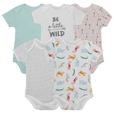 Rene Rofe Baby Bodysuits - 5-Pack (For Newborn) in Be A Little Wild Off-White - Closeouts