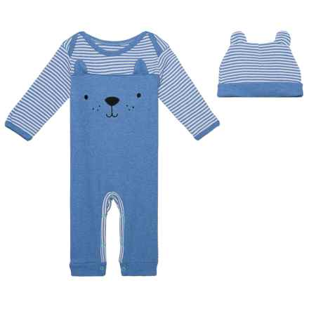 Rene Rofe Cap and Coveralls Layette Set - Long Sleeve (For Newborns) in Blue Bear - Closeouts