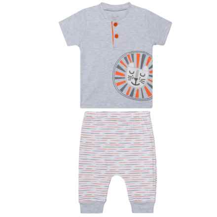 Rene Rofe Henley Shirt and Pants Set - 2-Piece, Short Sleeve (For Newborn) in Little Grey Lion - Closeouts