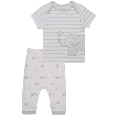 Rene Rofe Shirt and Pants Set - 2-Piece, Short Sleeve (For Newborn) in Off-White Elephant