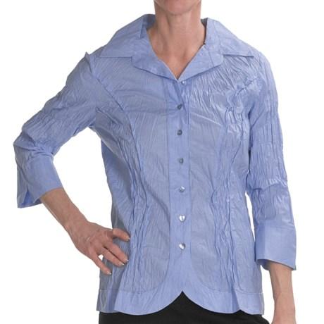 Renuar Cotton Chintz Shirt - 3/4 Sleeve (For Women) in Salmon