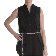 Renuar Cotton Voile Tunic Shirt - Sleeveless (For Women) in Black - Closeouts