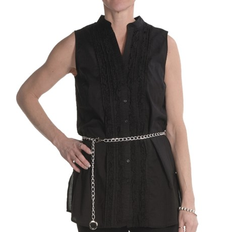 Renuar Cotton Voile Tunic Shirt - Sleeveless (For Women) in Black