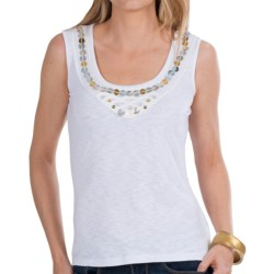 Renuar Embellished Knit Shirt - Sleeveless (For Women) in White