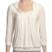 Renuar Gathered Neck Shirt - 3/4 Sleeve (For Women) in Offwhite - Closeouts