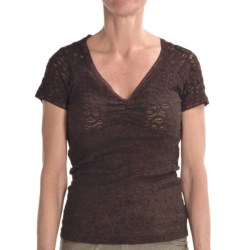 Renuar Lace Shirt - V-Neck, Short Sleeve (For Women) in Hot Fudge