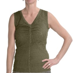 Renuar Lace Shirt - V-Neck, Sleeveless (For Women) in Cactus