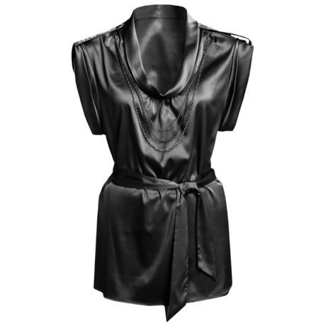 Renuar Matte Satin Shirt - Short Sleeve (For Women) in Black