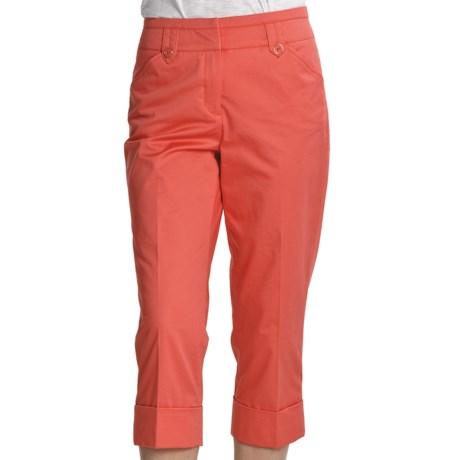 Renuar Paris Fit Capri Pants - Stretch Cotton (For Women) in Coral