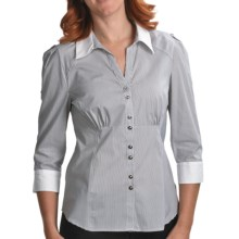 Renuar Pinstripe Shirt - Stretch Cotton, 3/4 Sleeve (For Women) in Combo Black - Closeouts