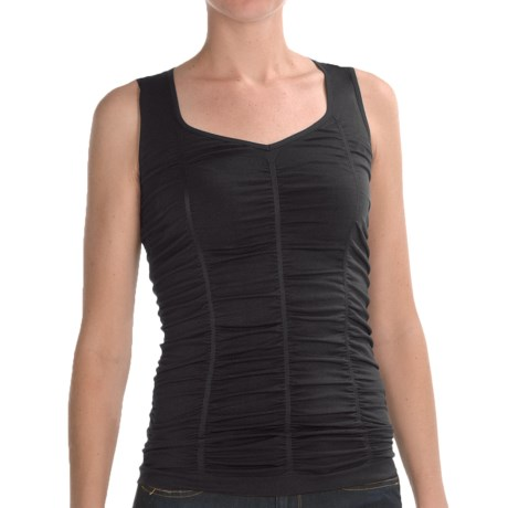Renuar Shirred Knit Shirt - Sleeveless (For Women) in Black