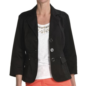 Renuar Stretch Cotton Jacket - 3/4 Sleeve (For Women) in Black