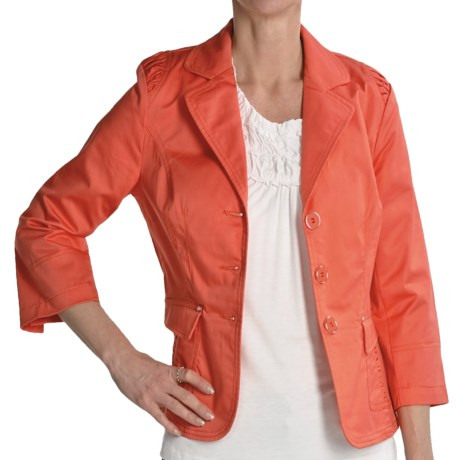 Renuar Stretch Cotton Jacket - 3/4 Sleeve (For Women) in Coral
