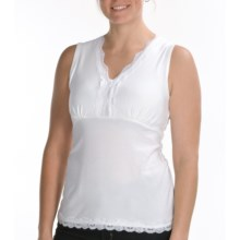 Renuar Stretch Cotton Jersey Shirt - V-Neck, Sleeveless (For Women) in White - Closeouts
