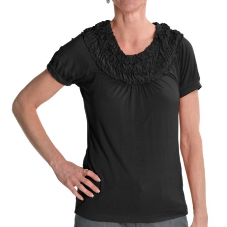 Renuar Stretch Jersey Shirt - Short Sleeve (For Women) in Black