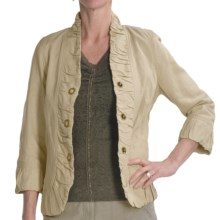 Renuar Washed Linen-Rich Jacket - Three-Snap (For Women) in Sand - Closeouts