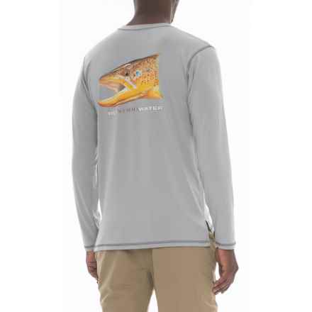 Rep Your Water Brown Trout High-Performance T-Shirt - Long Sleeve (For Men) in Grey - Closeouts