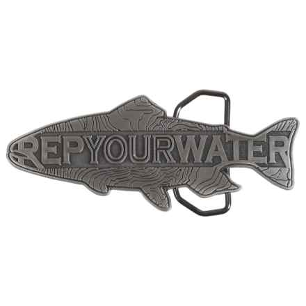 Rep Your Water Trout Belt Buckle - Stainless Steel (For Men) in See Photo - Closeouts