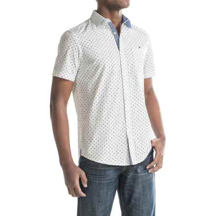 Report Collection Circle and Square Print Sport Shirt - Short Sleeve (For Men) in White - Closeouts
