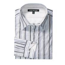 Report Collection Cotton Jacquard Stripe Sport Shirt - Long Sleeve (For Men) in Blue - Closeouts