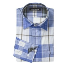 Report Collection Cotton Sport Shirt - Long Roll-Up Sleeve (For Men) in Blue - Closeouts
