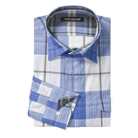 Report Collection Cotton Sport Shirt - Long Roll-Up Sleeve (For Men) in Blue