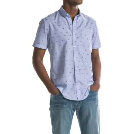 Report Collection End On End Fish Scale Print Sport Shirt - Short Sleeve (For Men) in Blue - Closeouts