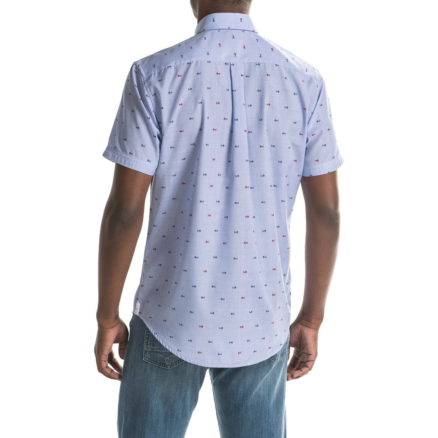 Report collection end on end fish scale print sport shirt for Fish scale shirt