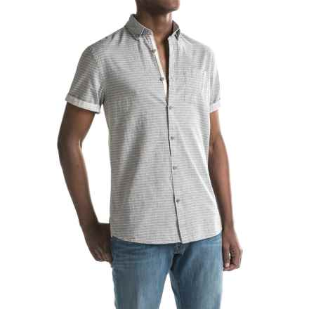 Report Collection Fleck Horizontal Stripe Sport Shirt - Short Sleeve (For Men) in Grey - Closeouts